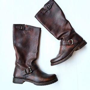 FRYE Veronica Vintage slouch brown biker boots